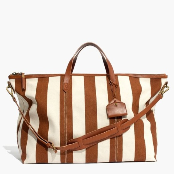 2aa9d0a19de75 Madewell The Transport Weekender in Striped Canvas